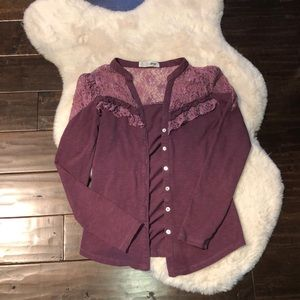 Lace Button-Up Cardigan